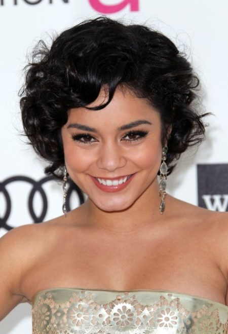 Vanessa Hudgens Black Curly Bob Haircut