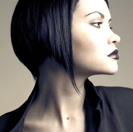 Side View of the Angled Hair: Trendy Angled Bob Hairstyle