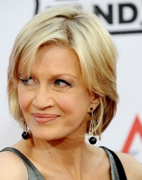 Diane Sawyer Chin Length Hairstyles for Women Over Age 50