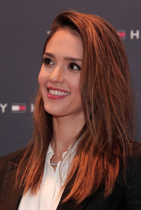 Jessica Alba Long Straight Red Hairstyle Hairstyles Weekly
