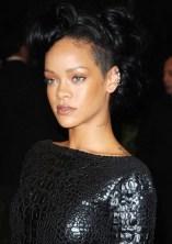 Rihanna Updos: Bobby Pinned Black Updo Hair Style