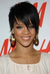 Rihanna Boy Cut: Short Black Hairstyle with Fringed Bangs