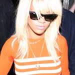 Rihanna Long Sleek Hairstyle: Blonde Ombre Hair