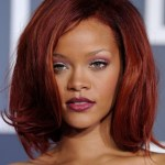 Rihanna Medium Red Bob Hairstyles with Volumes