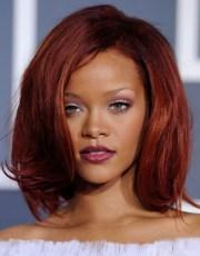 rihanna medium red bob hairstyles