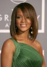 Rihanna Medium Straight Bob Hairstyle with Bangs