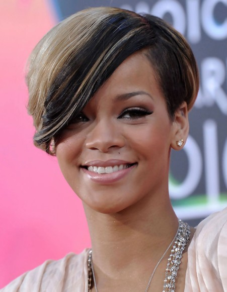 Rihanna Short Haircut with Side Swept Bangs