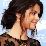 Selena Gomez Casual Messy Updo Hairstyle