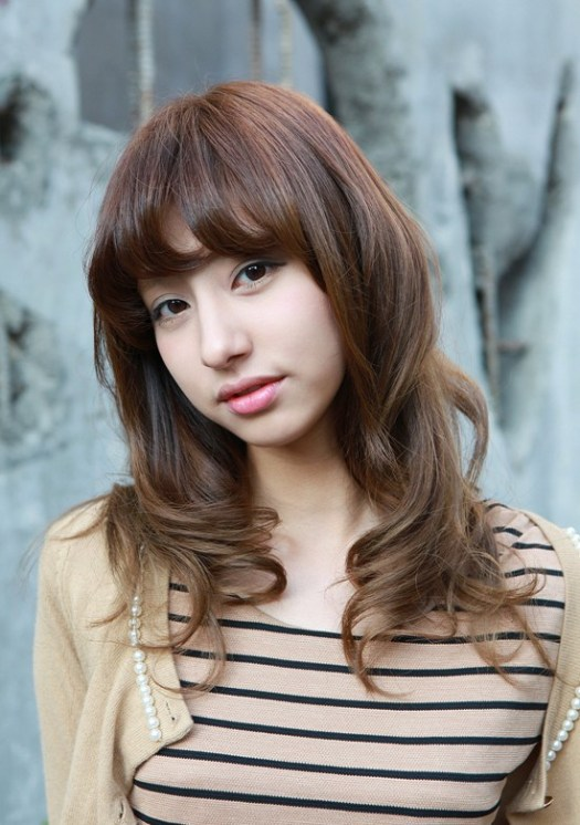 shoulder length brown Asian hairstyle