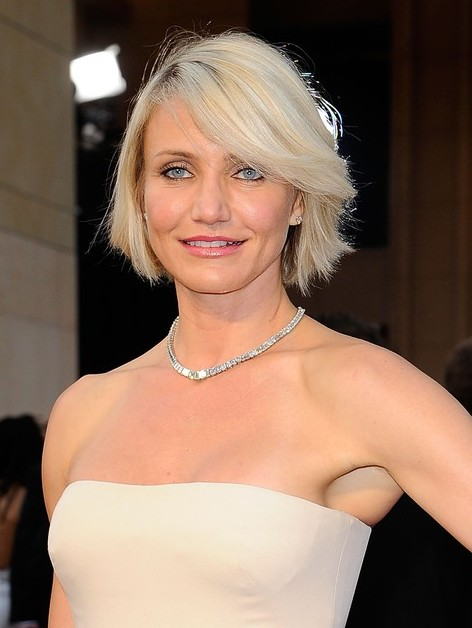 Cameron Diaz New Haircut Short Blonde Bob Hairstyle with Bangs  Hairstyles Weekly