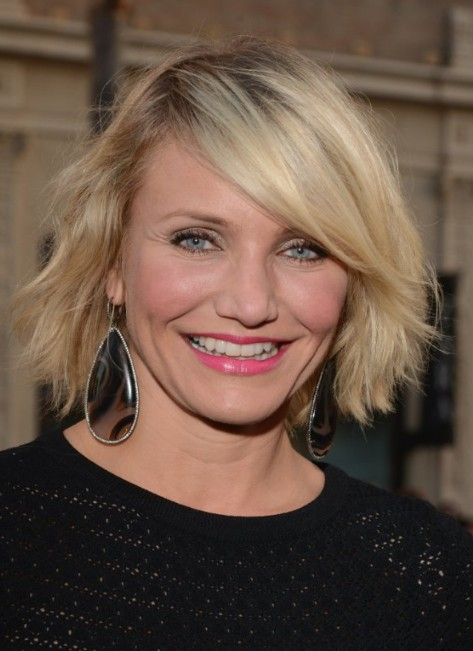 Cameron Diaz Short Choppy Bob Hairstyle With Side Swept