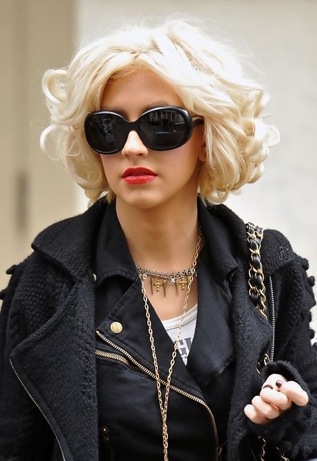 Christina Aguilera Short Curly Bob Hairstyle  Hairstyles Weekly