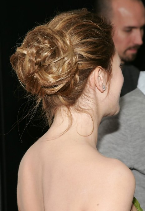 Drew Barrymore Twisted Bun Updo