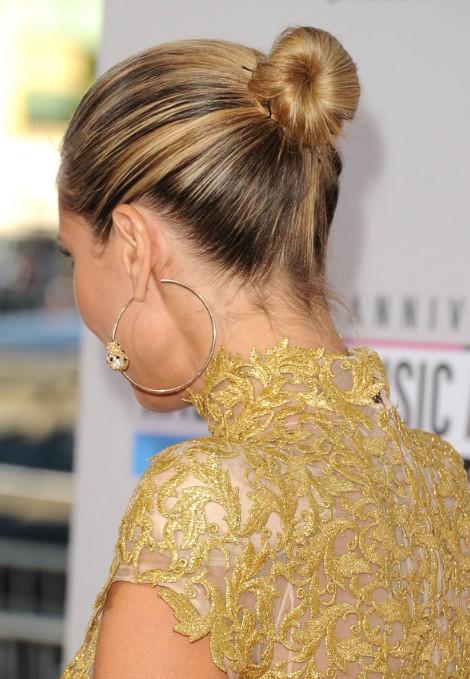 Heidi Klum Elegant Classic Bun Updo Back View  Hairstyles Weekly