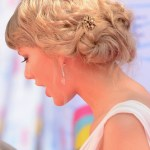Taylor Swift Romantic Updo Hairstyle for Wedding