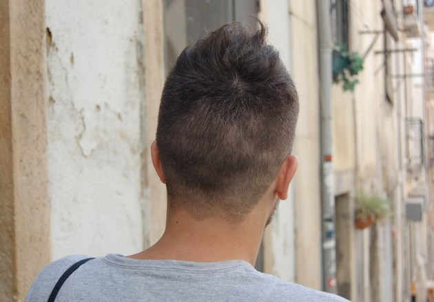 Back View of Cool Asymmetric Short Hairstyle for Men