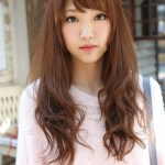 Cute Asian Long Hairstyle with Bangs