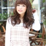 Cute Japanese Girl with Long Brown Hairstyle