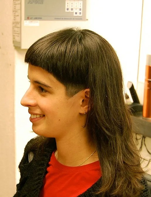 Edgy Long Hairstyle with Blunt Bangs