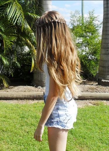 Girls Waterfall Braid Hairstyle