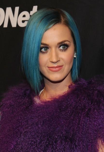 Katy Perry Hairstyle Short Sleek Blue Bob Cut