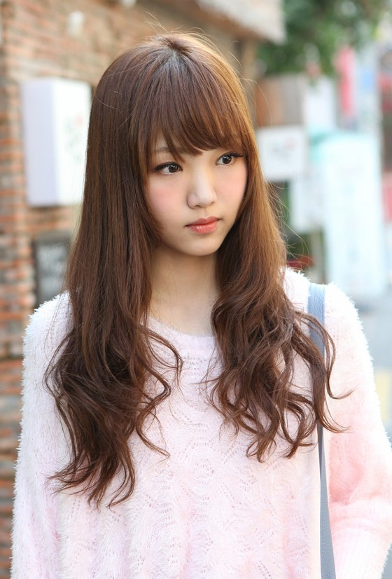 Cute Korean Hairstyle For Girls Long Brown Hair With Bangs