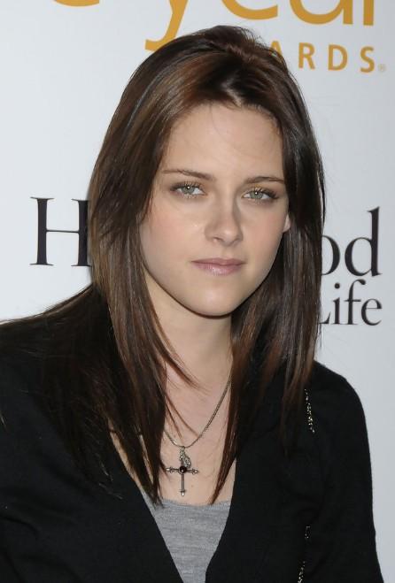 Kristen Stewart Long Center Parted Brunette Hairstyle