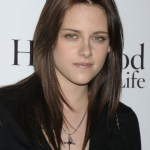 Kristen Stewart Long Center Parted Brunette Hairstyle
