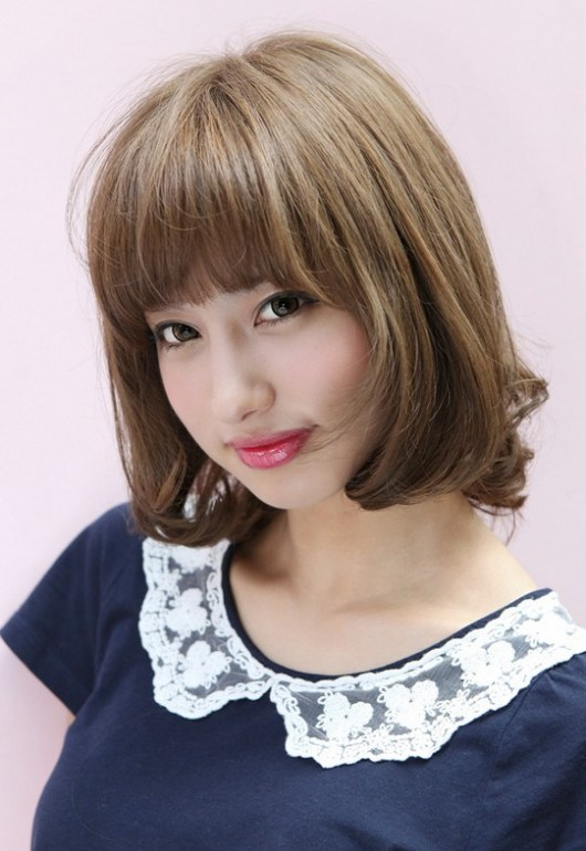 Lovely Short Japanese Bob Hairstyle with Bangs