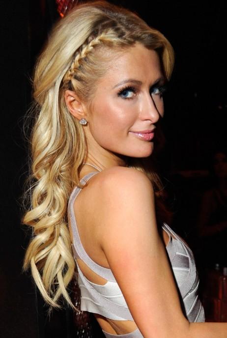 Paris Hilton Cute Long Blonde Braided Hairstyle