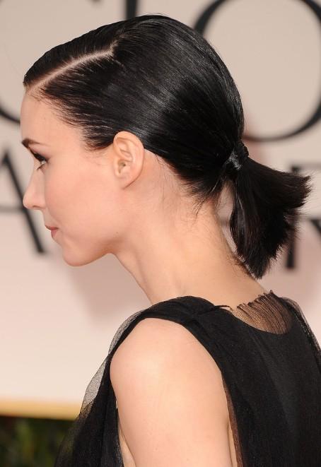 Rooney Mara Cute Short Black Ponytail Hairstyle