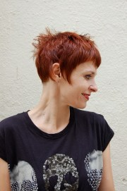 short chic red haircut