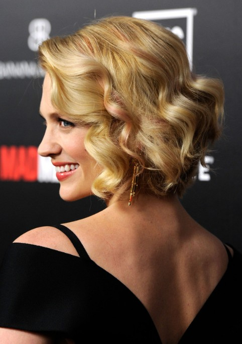 Side View of January Jones Short Bob Hairstyle