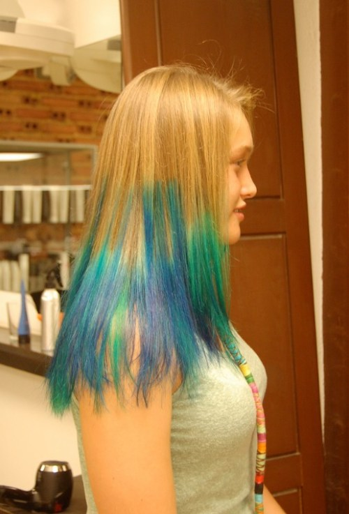 Side View of Long Blue Green Hairstyle