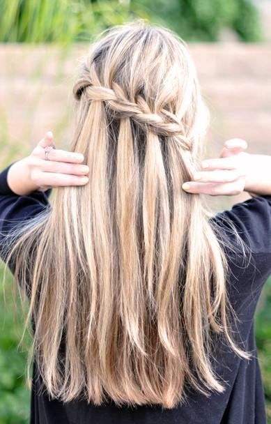 Waterfall Braid Hairstyle for Long Hair