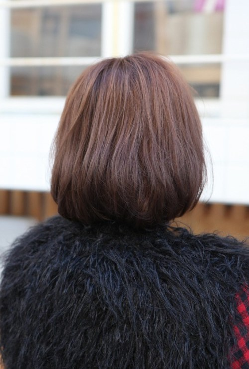 Back View of Cute Bob with Side Swept Bangs