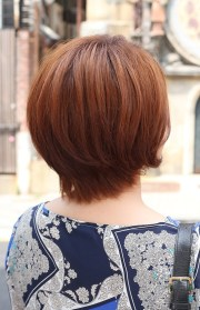 view of short auburn bob hairstyle