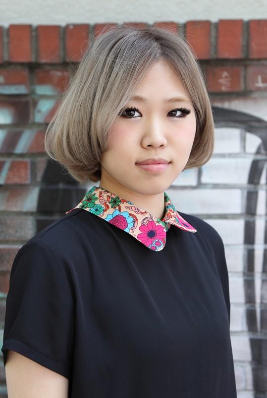 Cute Center Parted Asian Bob Hairstyle - Gray Bob Cut