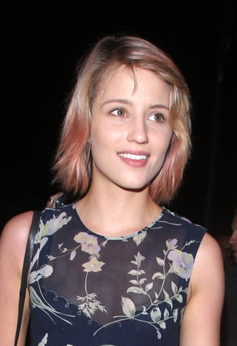 Trendy Short Naturally Wavy Hairstyle with Pink Highlights  Dianna Agron Hairstyles