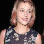 Dianna Agron Short Naturally Wavy Hairstyle with Pink Highlights