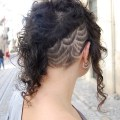 Edgy black curly hairstyle futuristic pretty edgy long black curly