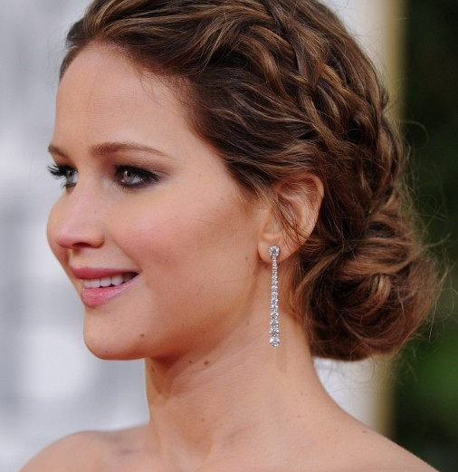 Jennifer Lawrence Messy Braided Hairstyle 2013
