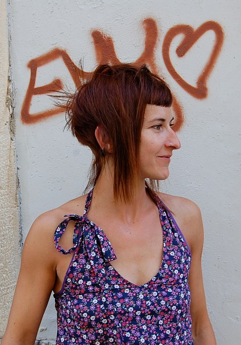 Side View of Trendy Short Long Red Hairstyle