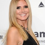 Heidi Klum Long Sleek Center Parted Hairstyle