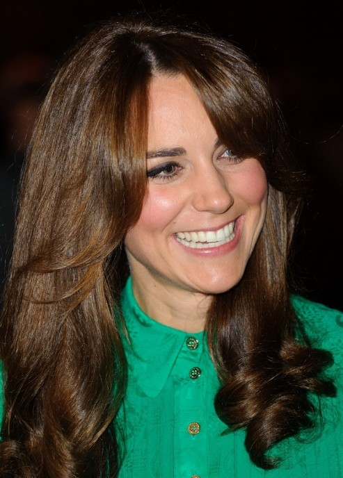 Long Curly Hair Style With Bangs For Fall Kate Middleton