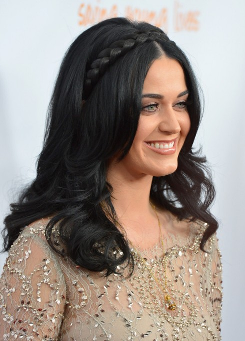 Katy Perry Long Braided Black Hairstyle