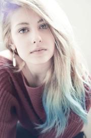 light blue dip dye long hair