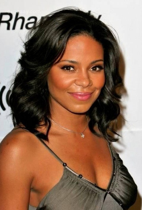 Sanaa Lathan Long Black Curly Hairstyle for Prom