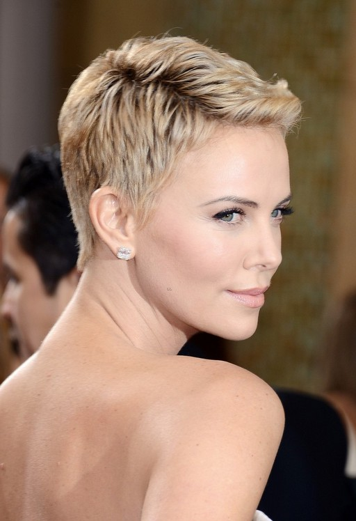 Charlize Theron Short Pixie Haircut for Summer 2014