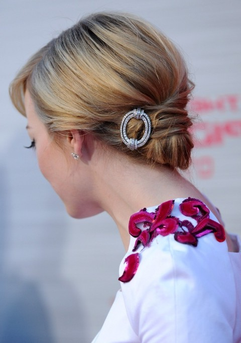 Chic Faux Chignon on Chinlength Hairstyle  Emma Stone Updo  Hairstyles Weekly
